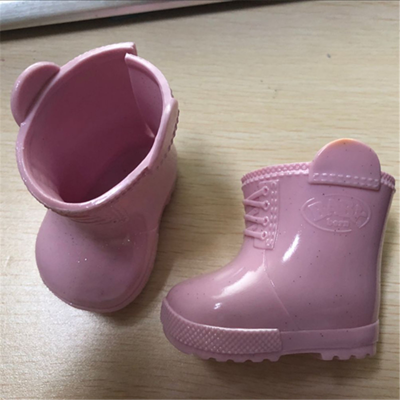 New Style 1pair Pink  Boots/shoes Fit 43cm Baby Doll Clothes And Accessories, Children Best Birthday Gift