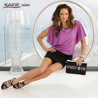 KaigeNina New casual Fashion Hot Sale Women Solid Straight Satin Neckline Bead O Neck Knee length Chiffon Dress 1030