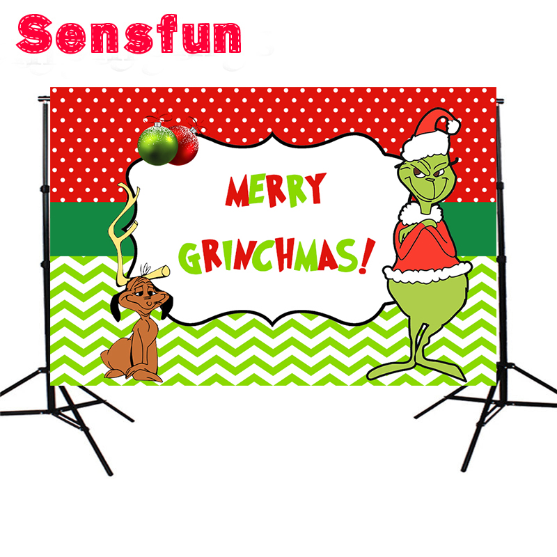 The Grinch Christmas.Us 7 51 6 Off Sensfun Red And Green Polka Dots The Grinch Christmas Background Photo Backdrops Party Event Banner 7x5ft In Background From Consumer