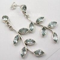SOLID Silver Classic BLUE TOPAZ 6 STONE UNUSUAL TREE LEAVES Earrings 4 6 CM