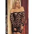 Cfanny женщин горячий сексуальный летом эротическое модный новый длинные рукава открытые отверстия черное белье платье ночная сорочка пижамы LC21227 намекает