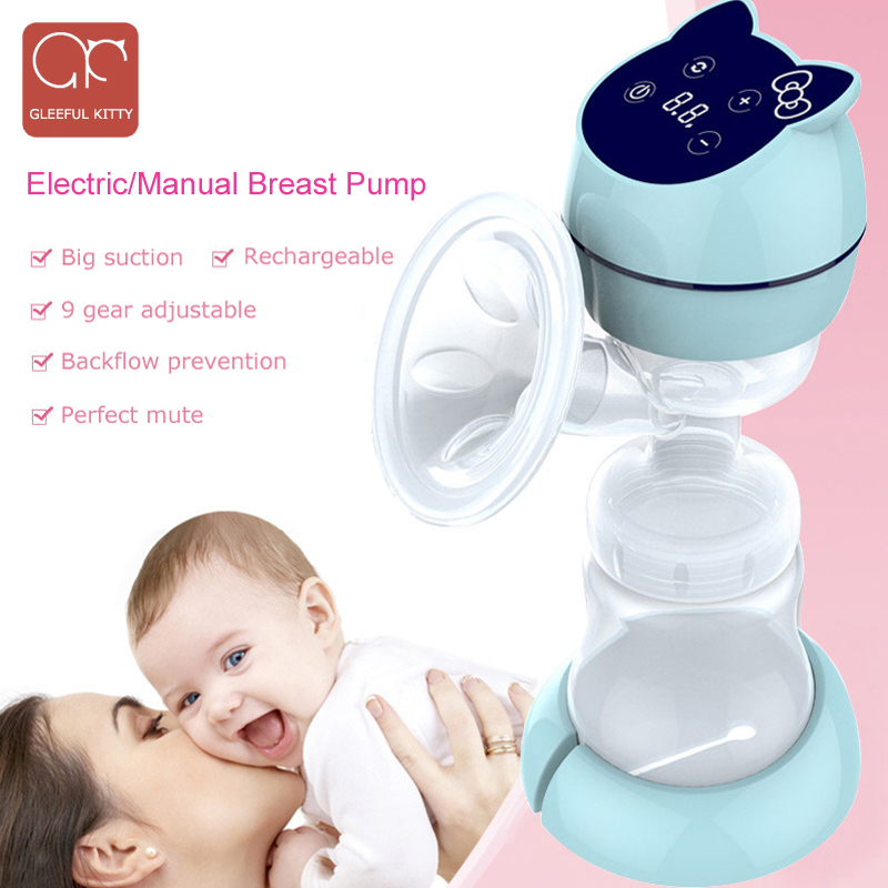 All in one USB Electric Breast Pump Powerful Suction LED Display cartoon Portable manual Breast Pumps