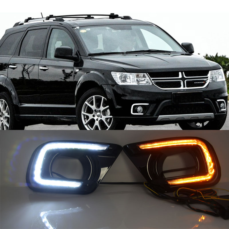 Car DRL Daytime Running Light For FIAT Freemont Dodge Journey 2014 2015 2016 with Fog Lamp Hole Turn Signal Style Relay turn signal style relay 12v led car drl daytime running lights with fog lamp hole for nissan x trail x trail xtrail 2014 2015