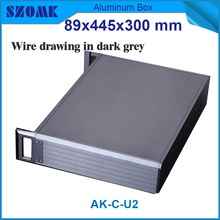 1 piece 3 U chassis instrument aluminum box fit device 67x401x269mm Black color Aluminum Low Cost Mini-itx Embeded