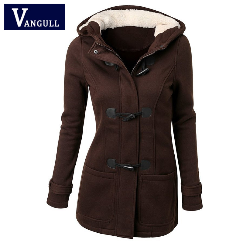 Casual Thick Women's Clothing 2018 Winter Solid Slim zipper Ladies outwear Hooded Horn Button warm women long   Basic     Jackets