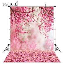 Primavera de vinil floral rosa pêssego flor vista recém nascido do bebê foto fundo computador impresso floral jardim vista foto backdrops