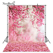 Vinile primavera floreale rosa pesca fiore vista neonato bambino foto sfondo computer stampato floreale vista giardino fondali foto