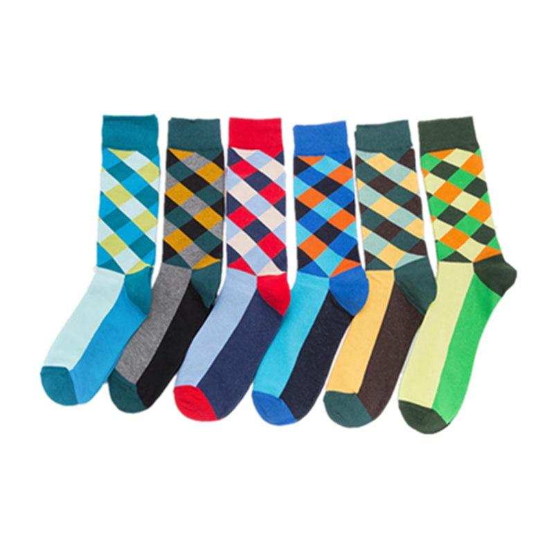 Mens Colorful Autumn Cotton Tube Socks Casual Breathable Skateboarding Socks