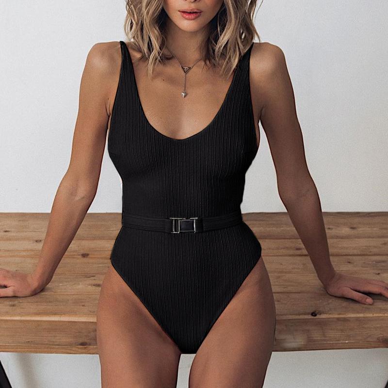 Одноцветный купальный костюм с бретельками, модель 2020 года, сексуальный купальник для женщин, с поясом, с высокой посадкой, пляжная одежда, u-... 29