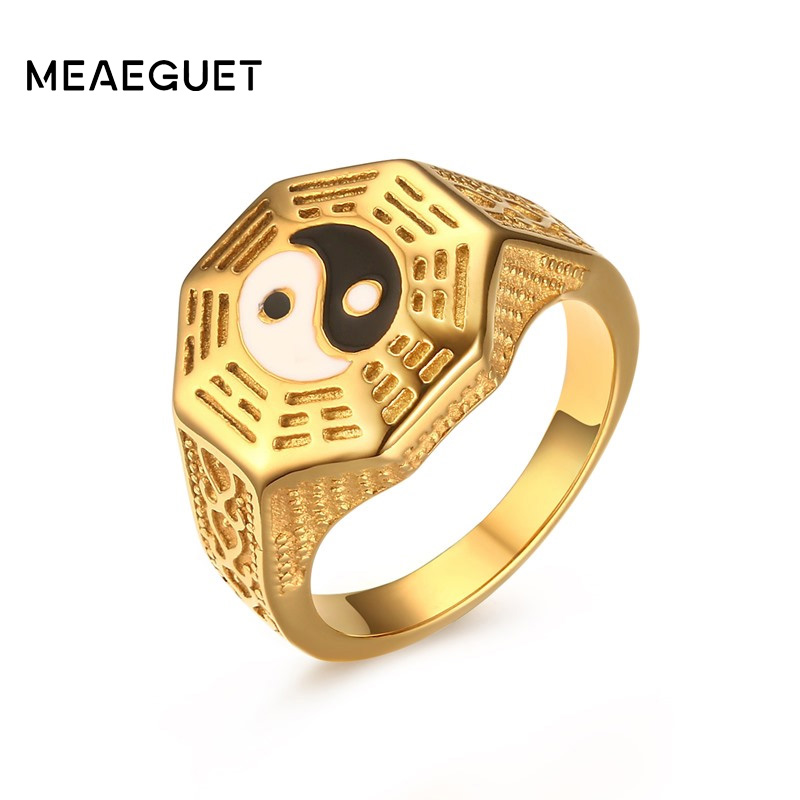 Meaeguet Men's Gossip Yin Yang Symbol Rings Gold Color Stainless Steel Male Wedding Bands Jewelry Bague AnillosUS Size 7-11