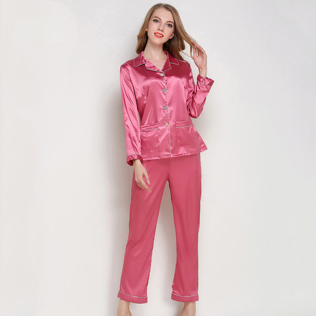 1d6dacc21442 Sexy Silk Satin Pajamas Set Women Long Sleeve Sleepwear Home Suit Female 2  Pcs Night Shirts
