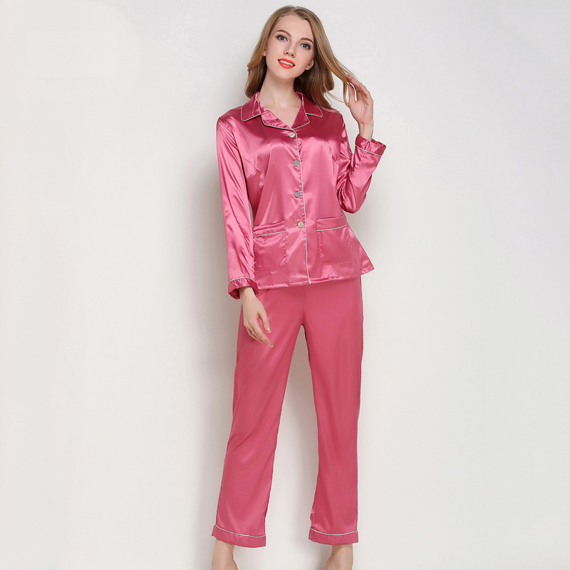 Sexy Silk Satin   Pajamas     Set   Women Long Sleeve Sleepwear Home Suit Female 2 Pcs Night Shirts Pants Nightwear Pyjama Koszula Nocna