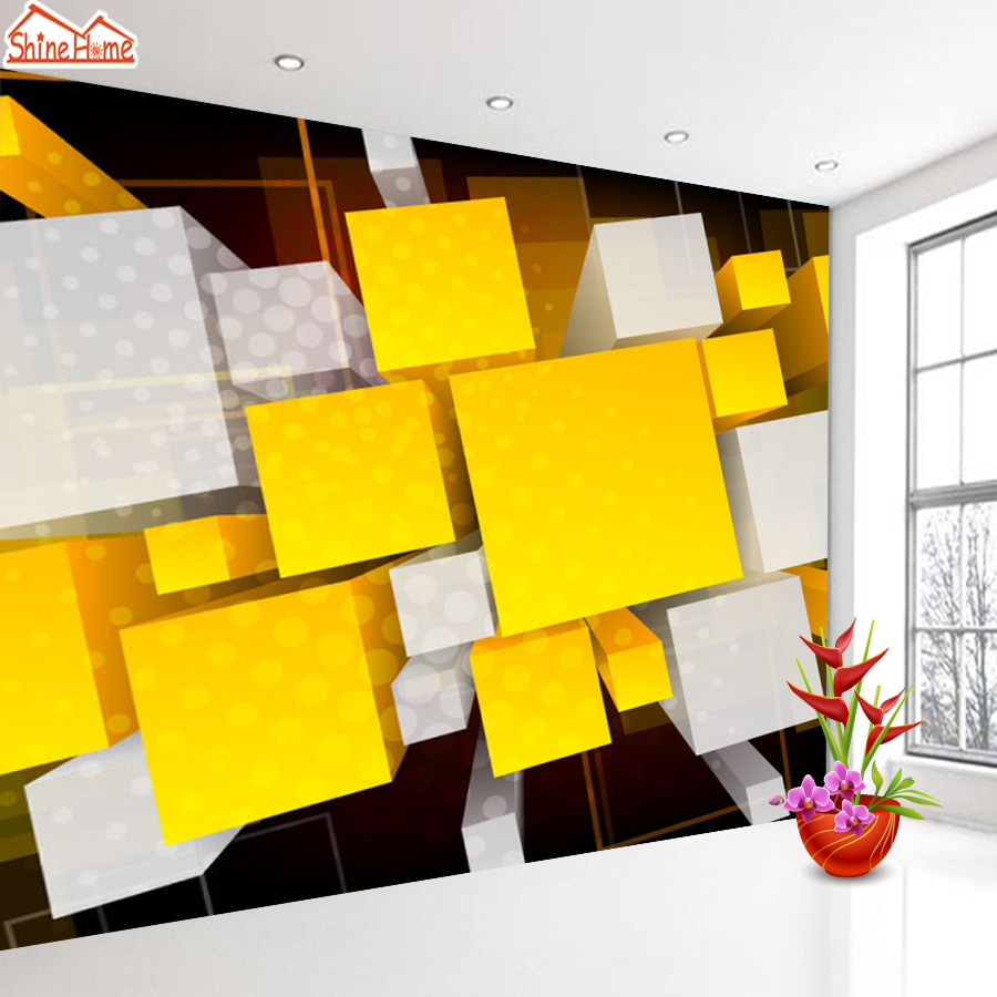 ShineHome-Abstract Cube Square Brick Pattern Wallpaper Wall 3d Murals for Walls 3 d Wallpapers for Livingroom 3 d Mural Roll shinehome sunflower bloom retro wallpaper for 3d rooms walls wallpapers for 3 d living room home wall paper murals mural roll
