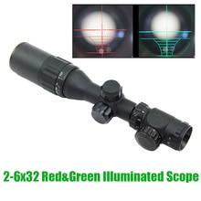 Тактический 2-6x32 красный и зеленый свет AOE Scope поставляется с солнцезащитным козырьком и кольцами для прицела маркировочная версия