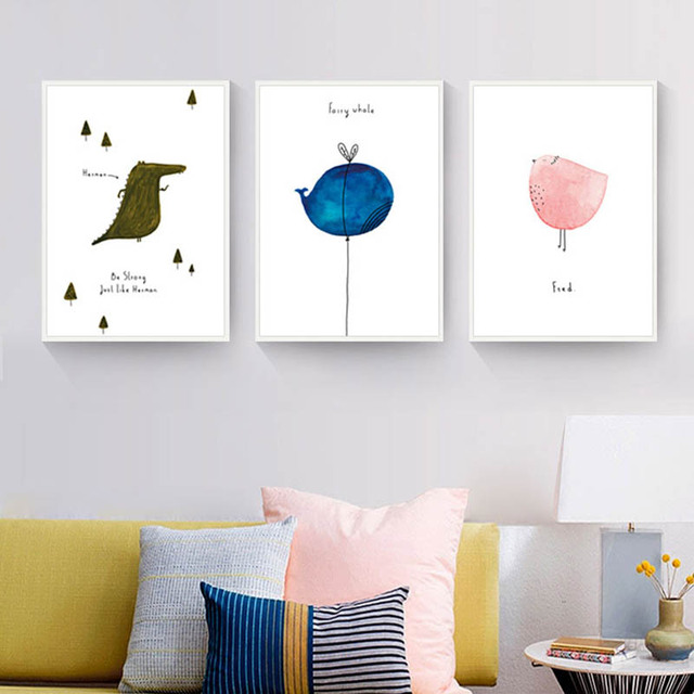 Lovely And Abstract Animal Interesting Cartoon Nordic Concise Artistic  Beauty Art Picture Canvas Posters For Home