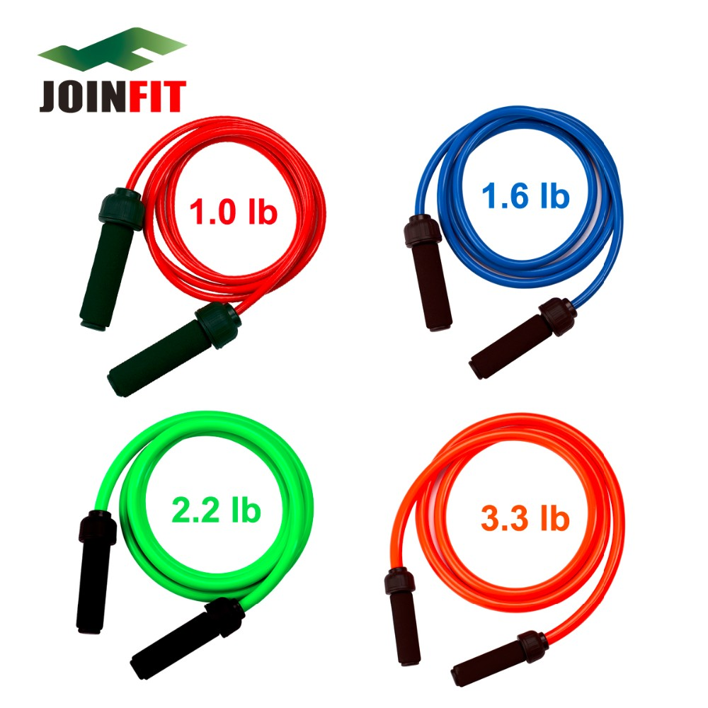 JOINFIT 2.7M PVC Heavy Power Jump Rope GYM Crossfit Weighted Bearing Rope Skipping 1.0 lbs- 3.3 lbs for Optional