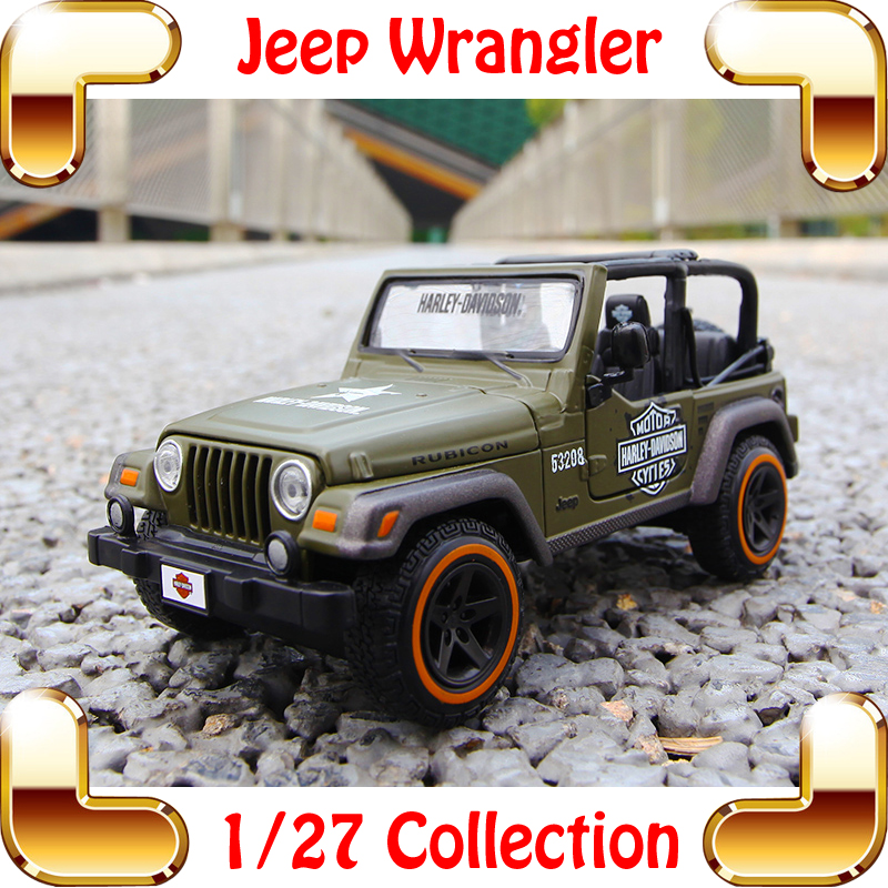 New Year Gift Jeep Wrangler 1/27 Model Metallic Car SUV Vehicle Alloy Decoration Toys Cars Present For Family Friend maisto jeep wrangler rubicon fire engine 1 18 scale alloy model metal diecast car toys high quality collection kids toys gift
