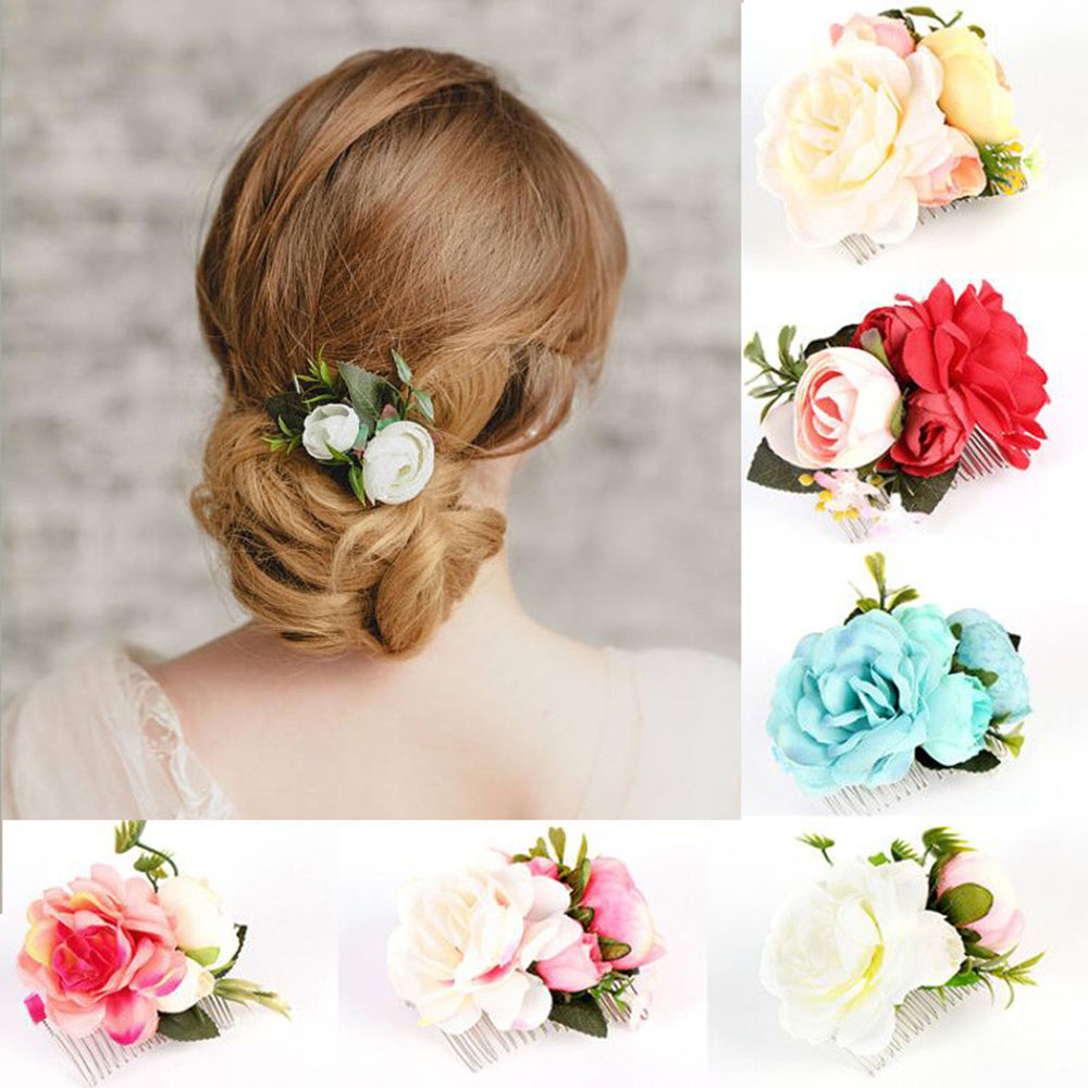 1Pc Wedding Bridal Rose Flower Barrette Hair Pins Clips Bridesmaid Side Comb Hiar Styling Tools Hair Salon Tools