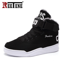 REETENE Winter Warm Men Snow Boots High Top Fur Men'S Boots Fashion Velvet Men Boots Casual Men'S Shoes Plush Size 39 47