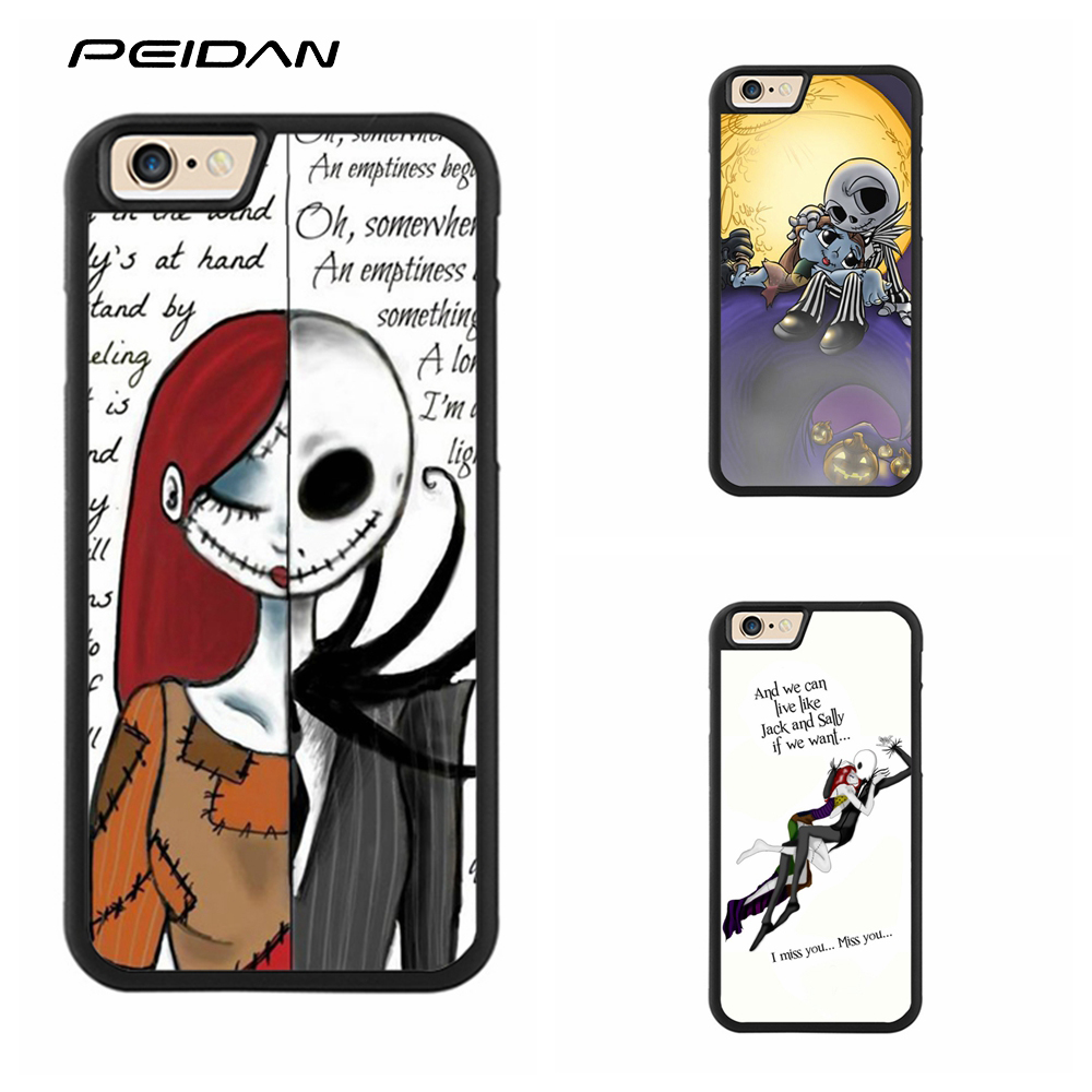 PEIDAN Jack and Sally Nightmare before christmas cover phone case for iphone X 4 4s 5 5s 6 6s 7 8 6 plus 6s plus 7 plus 8 plus
