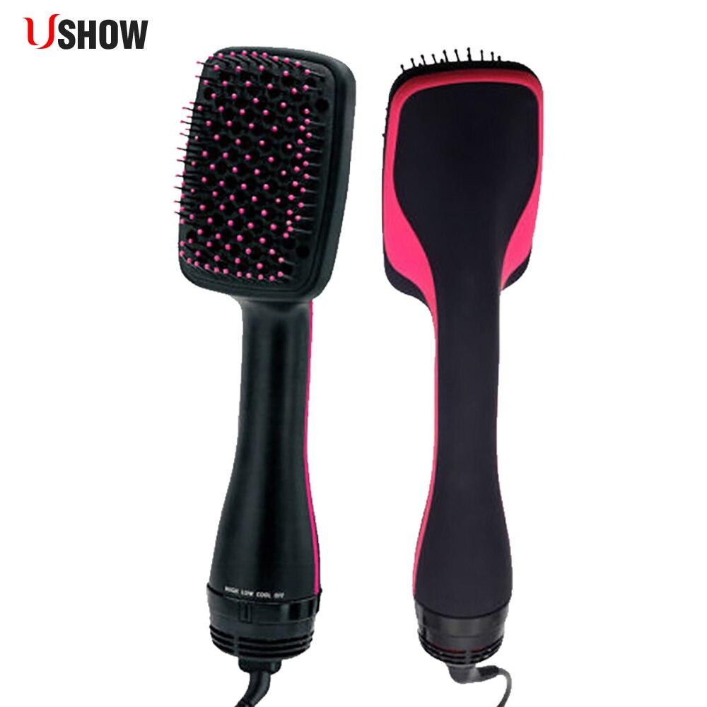 Professinal Salon hair Styler Brush Hair Dryer Comb Ionic Wet Hair Straightening Dryer Multi Color Hair Curler Brush Flat Iron цена