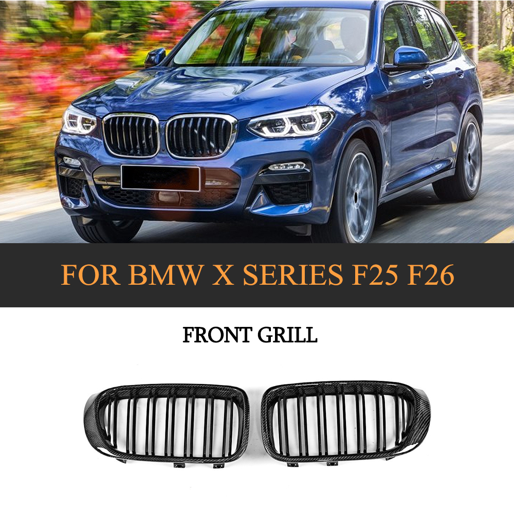 Carbon Fiber Gloss Black Front Bumper Grill Grille For BMW F25 X3 F26 X4 SUV 4 Door 2014 2017