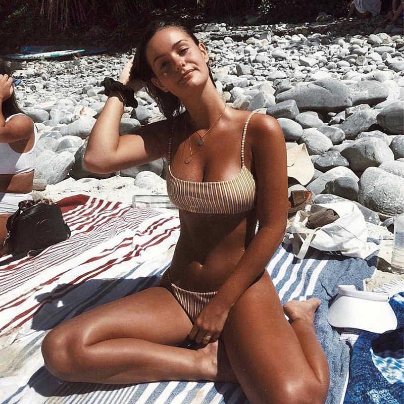 النساء اثنين من قطعة مجموعة ل المايوه مثير حبال أكمام عارية الذراعين حمالة أعلى + ملخصات الإناث الصيف حمام السباحة الملابس