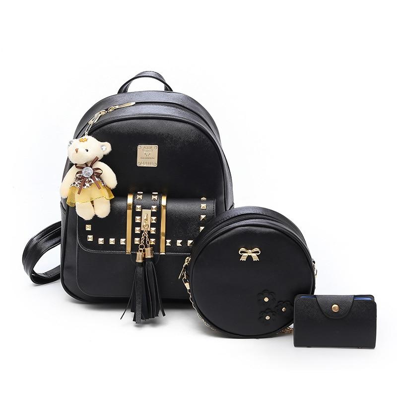 3 Pcs Bear Backpack Women Bag Fashion Tassel Rivet School Bags For Girls Leather Backpacks For Women 2018 New Shoulder Bag Purse