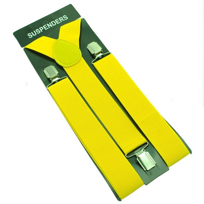 """Горячие Подтяжки для женщин Для мужчин Мужская Clip-On брекеты упругой подвески 3.5 см широкий """"20 однотонные"""" mix Подтяжки для женщин оптом и в розницу - Цвет: Yellow"""