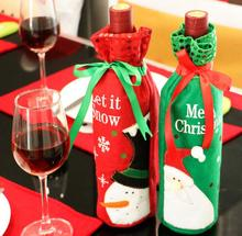 6pcs/lot Santa Claus Bottle Cover Bag Christmas Wine Dinner Bow-Knot Red Deer Home Party Decors