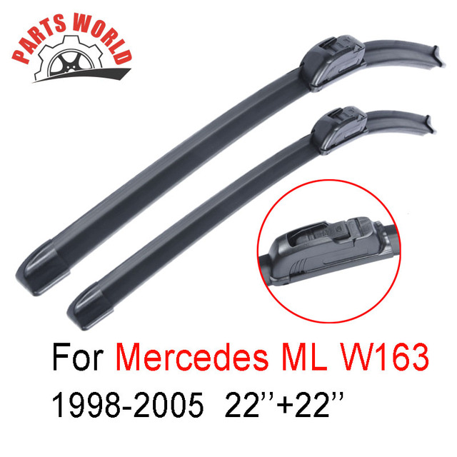 Par Brisas Frente Wiper Blades Para Mercedes Benz W163 ML-Classe 1998-2005, Fit Windshield Borracha Natural limpador de Carro, Acessórios Do Carro
