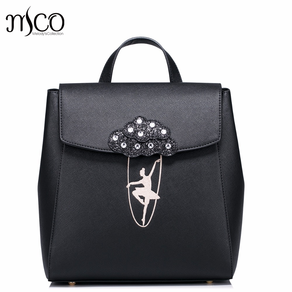 Hot Sale Ballet Girls Dancing Embroidery Fashion PU Women Leather Ladies Backpack School Travel Shoulders Bags Student Daypack 2017 new brand ballet girl embroidery drawstring pu women leather ladies backpack shoulders school travel bags student daypack