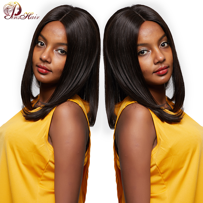 Pinshair Straight Human Hair Wigs For Women Natural Black 1 Brazilian U Part Lace Wigs With