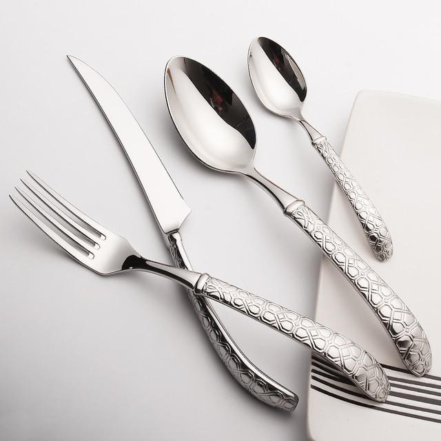 LEKOCH Cutlery Set  24 Pieces Stainless Steel Knives Forks Scoops Dinnerware Set Wedding Silverware Set Restaurant Tableware Set