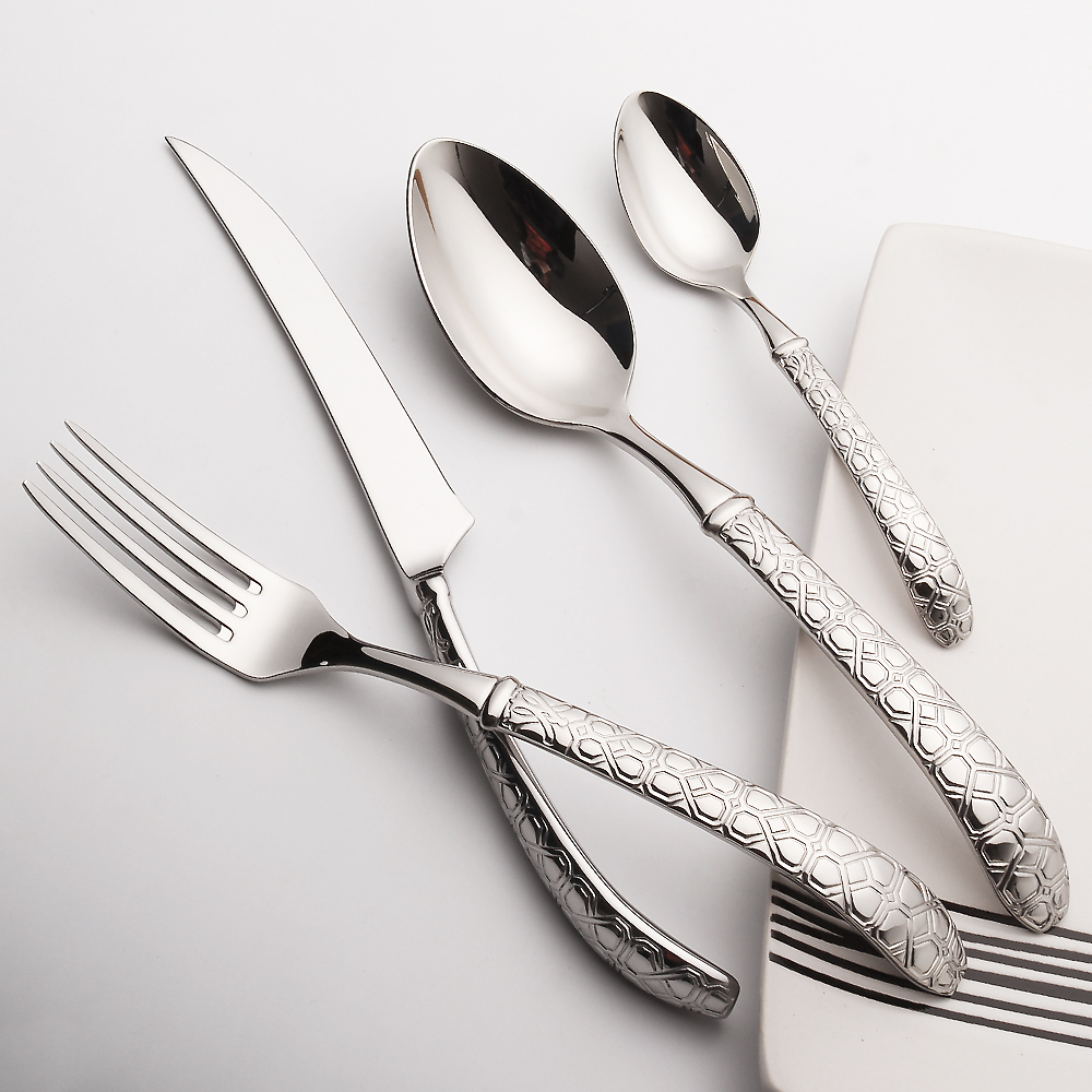 LEKOCH Cutlery Set 24 Pieces Stainless <font><b>Steel</b></font> Knives Forks Scoops Dinnerware Set Wedding Silverware Set Restaurant Tableware Set
