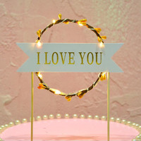 Sweet Love LED Light Up Flashing Flower Cake Toppers Happy Birthday Cake Flag Cake Decoration Event Party Suppliesnavidad