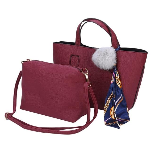 ad3aa84927be 2018 New Soft PU Leather Women Handbag Two Pieces Female Shoulder Bag Girls Messenger  Bag Casual Women Bag