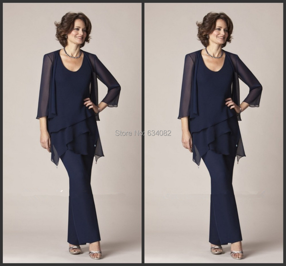 free shipping New Arrival Spring Summer Simple A Line Royal Blue Chiffon Ankle Length Mother Of the Bride Pant Suits With Jacket