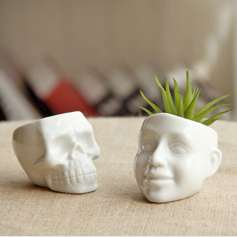 New Zakka White Mini Skull And Smile Ceramic Succulent