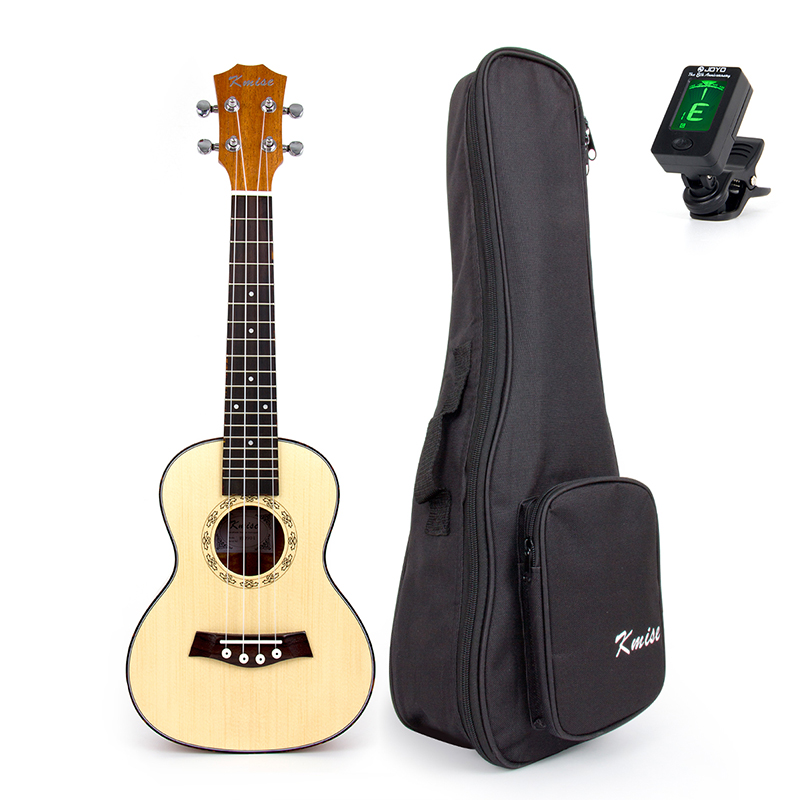 Kmise Ukulele Concert Solid Spruce Ukelele 23 inch 18 Fret Uke 4 String Acoustic Hawaii Guitar with Gig Bag Tuner electric ukulele acoustic solid top only 4strings guitar ox bone nut mahogany body red tortoise shell celluloid binding ukelele