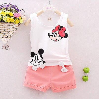 Summer Cute Cartoon 2PCS Kids Baby Girls Floral Vest Top Shorts Pants Set Clothes Girls Clothing Sets