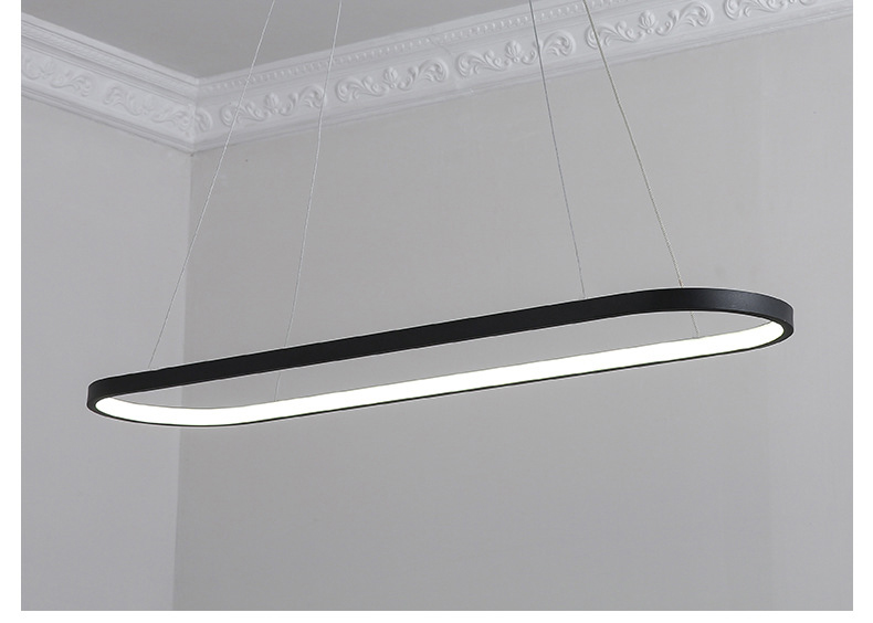 Simple Long Oval Led Pendant Light For Dining Room Office Study Table Kitchen Island Bar Counter Reception Black White Droplight Pendant Lights