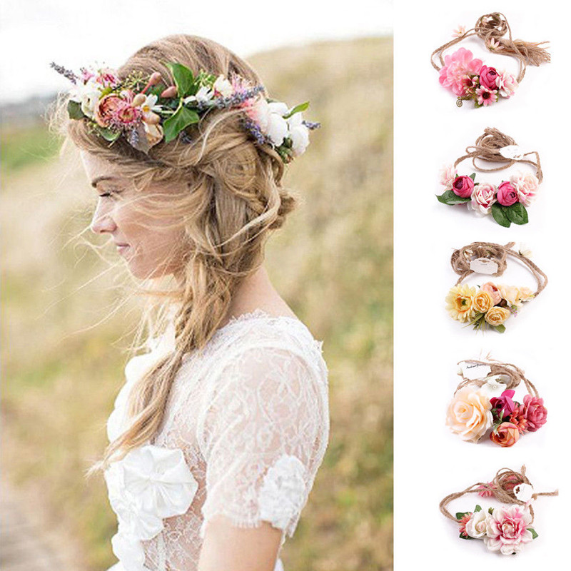 Women Kids Baby Girls Flower Hair Garland Crown Headband Floral Wreath Hairband