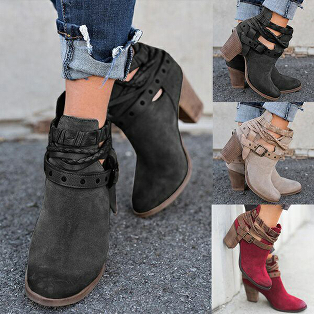5e5b37f9e Size 35-43 Autumn Winter Women Boots Casual Ladies Shoes Martin Boots Suede  Leather Ankle Boots High Heeled Zipper Snow Boot