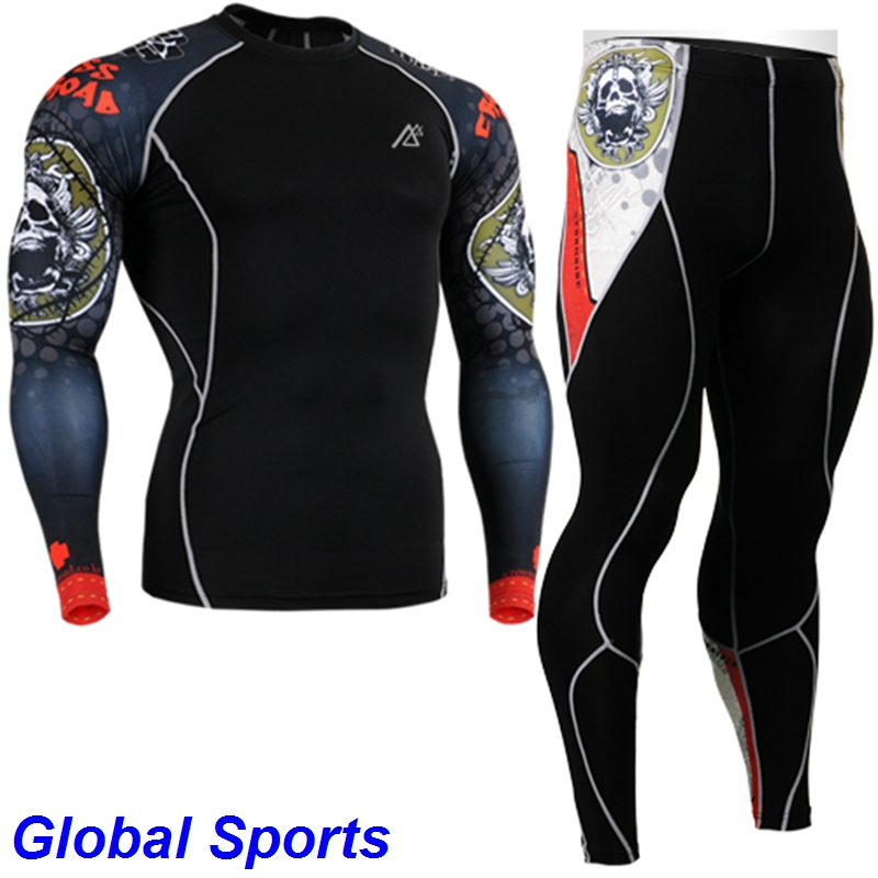 2017 Men Yoga Set long sleeve Sportswear Workout clothes suit elastic running tights sets spandex Basketball sport suits