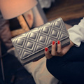 New Pu Long Wallet Solid Women Fashion Hasp Diamond Lattice Clutches Casual Double Cover Purse British style Handbags
