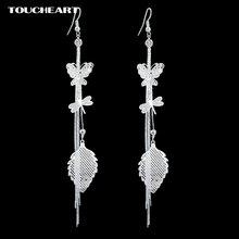 Toucheart серебристый лист висячие серьги модные ювелирные изделия