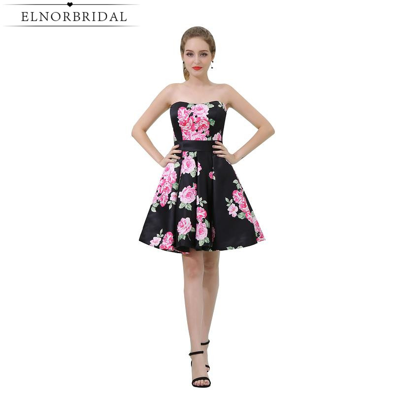Beautiful   Cocktail     Dresses   2019 Vestido De Festa Curto De Luxo Strapless Short Prom   Dress   Floral Print Homeconing Gowns