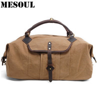 Vintage Large Bag Leather Canvas Sport Bags Men For Gym Duffle Bag Military Outdoor Luggage Bag