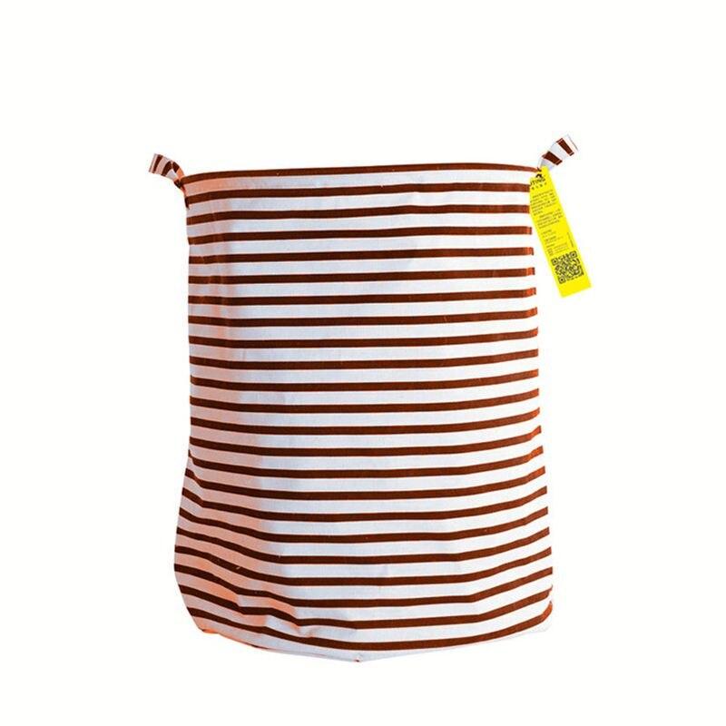 Stripes Laundry Baskets Foldable Cotton Linen Washing Clothes Laundry Basket Bag Hamper Storage